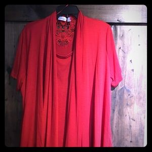 Kin Rogers Red Blouse 2x